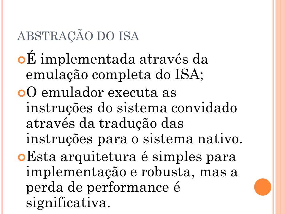 ABSTRAÇÃO DO ISA É implementada através da emulação completa do ISA; O emulador executa as instruções do sistema convidado através da tradução das ins