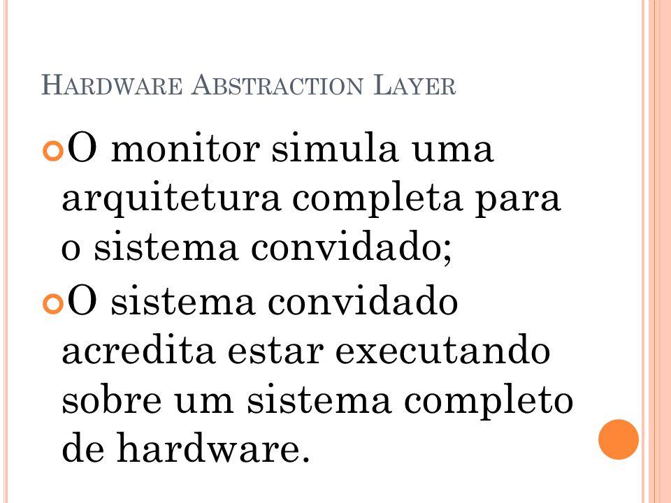 H ARDWARE A BSTRACTION L AYER O monitor simula uma arquitetura completa para o sistema convidado; O sistema convidado acredita estar executando sobre