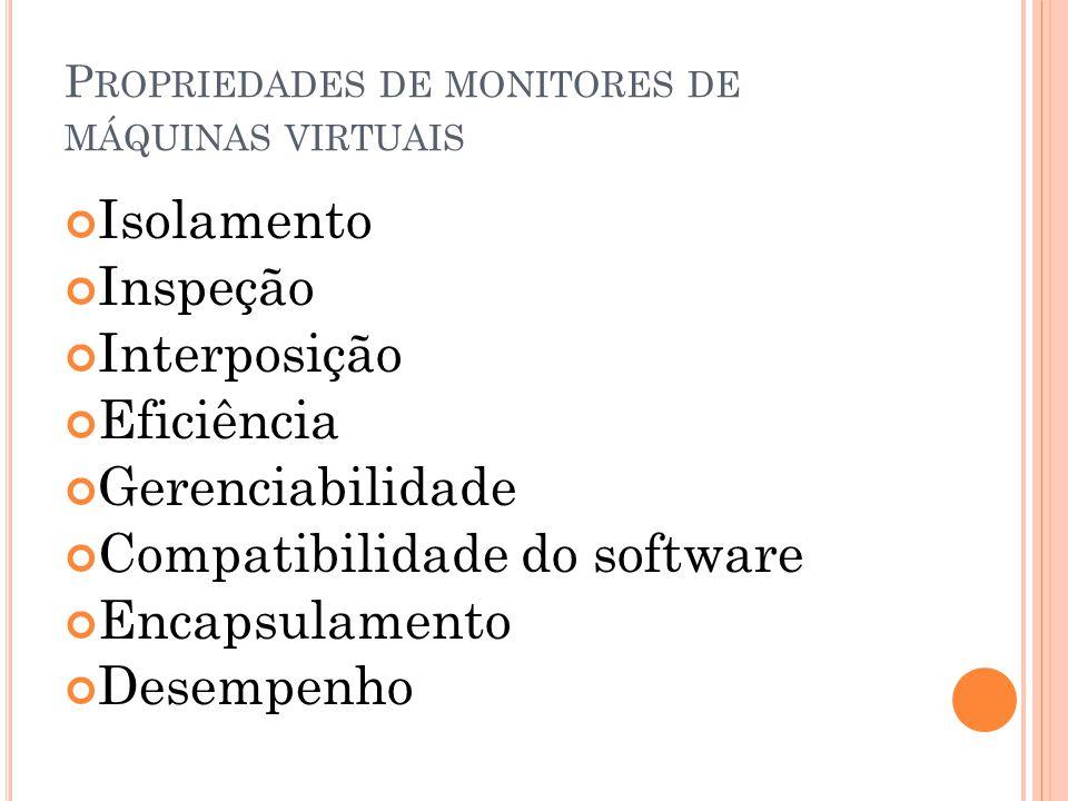 P ROPRIEDADES DE MONITORES DE MÁQUINAS VIRTUAIS Isolamento Inspeção Interposição Eficiência Gerenciabilidade Compatibilidade do software Encapsulament