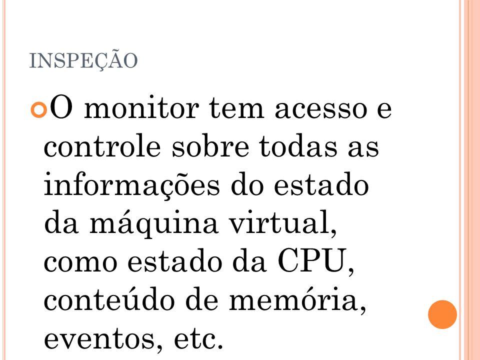 INSPEÇÃO O monitor tem acesso e controle sobre todas as informações do estado da máquina virtual, como estado da CPU, conteúdo de memória, eventos, et
