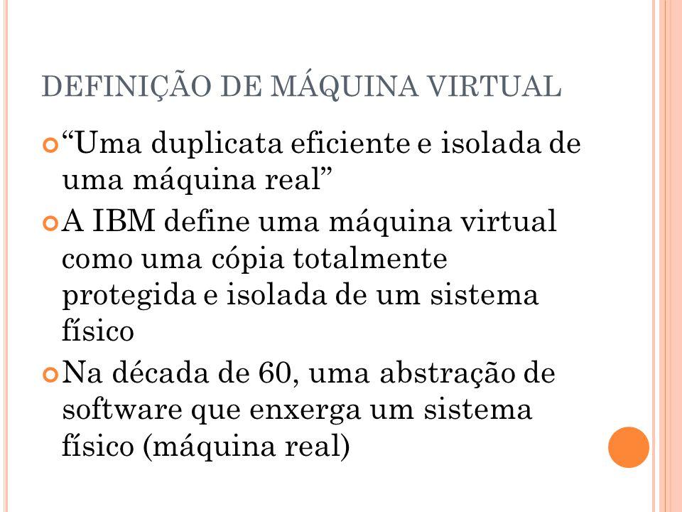 DEFINIÇÃO DE MÁQUINA VIRTUAL Uma duplicata eficiente e isolada de uma máquina real A IBM define uma máquina virtual como uma cópia totalmente protegid