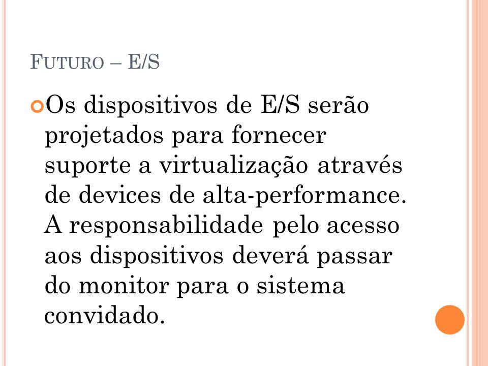 F UTURO – E/S Os dispositivos de E/S serão projetados para fornecer suporte a virtualização através de devices de alta-performance. A responsabilidade