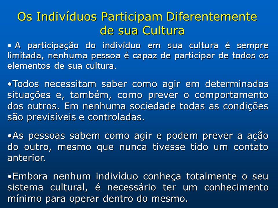 Os Indivíduos Participam Diferentemente de sua Cultura A participação do indivíduo em sua cultura é sempre limitada, nenhuma pessoa é capaz de participar de todos os elementos de sua cultura.