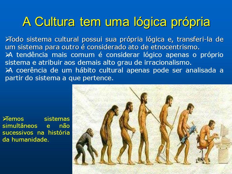 A Cultura tem uma lógica própria Todo sistema cultural possui sua própria lógica e, transferi-la de um sistema para outro é considerado ato de etnocentrismo.