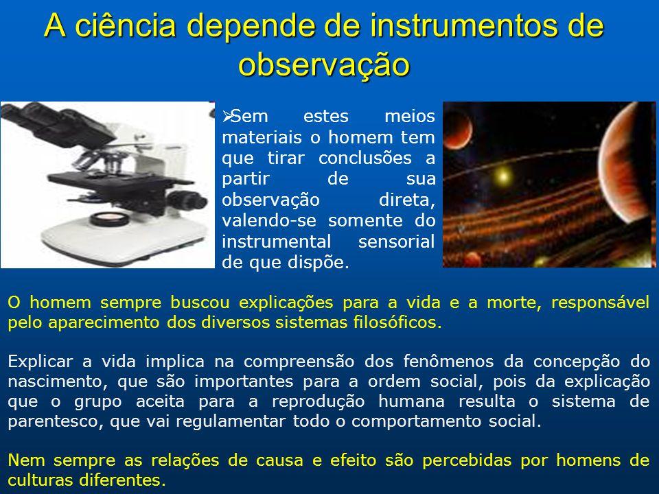 A ciência depende de instrumentos de observação Sem estes meios materiais o homem tem que tirar conclusões a partir de sua observação direta, valendo-se somente do instrumental sensorial de que dispõe.