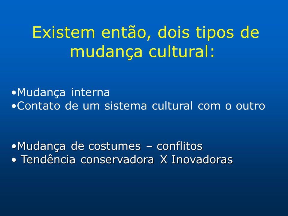 Existem então, dois tipos de mudança cultural: Mudança interna Contato de um sistema cultural com o outro Mudança de costumes – conflitosMudança de co