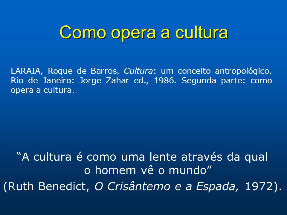 Como opera a cultura A cultura é como uma lente através da qual o homem vê o mundo (Ruth Benedict, O Crisântemo e a Espada, 1972). LARAIA, Roque de Ba
