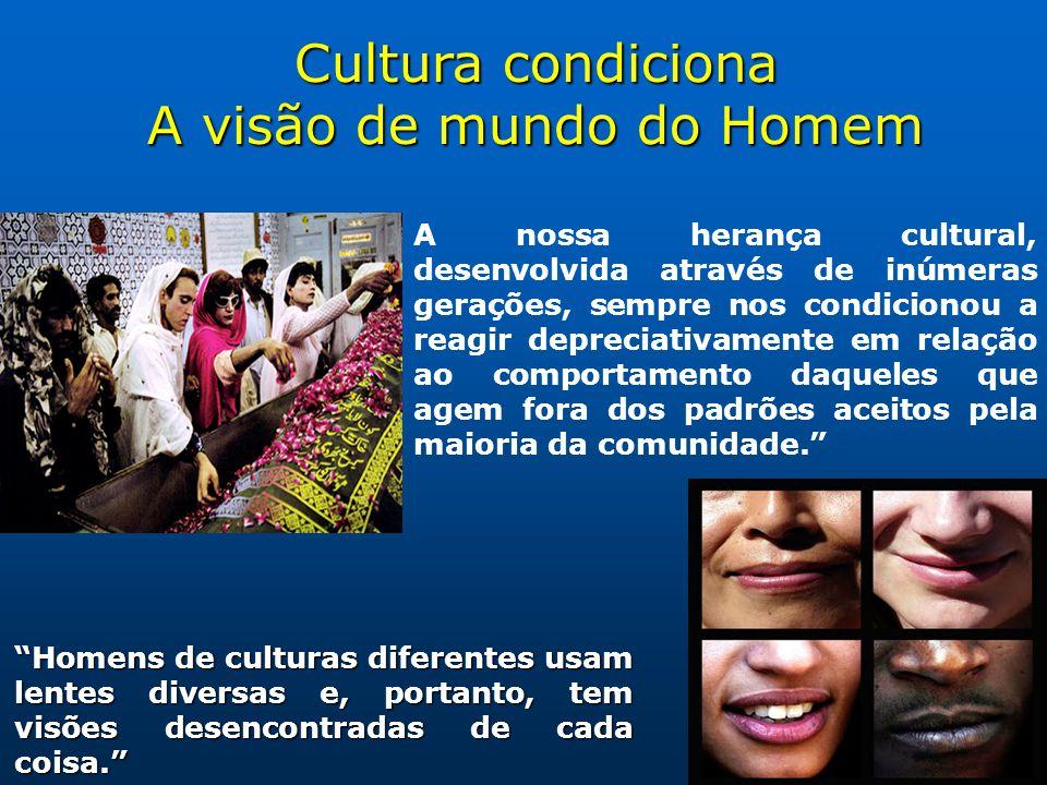 Cultura condiciona A visão de mundo do Homem Homens de culturas diferentes usam lentes diversas e, portanto, tem visões desencontradas de cada coisa.