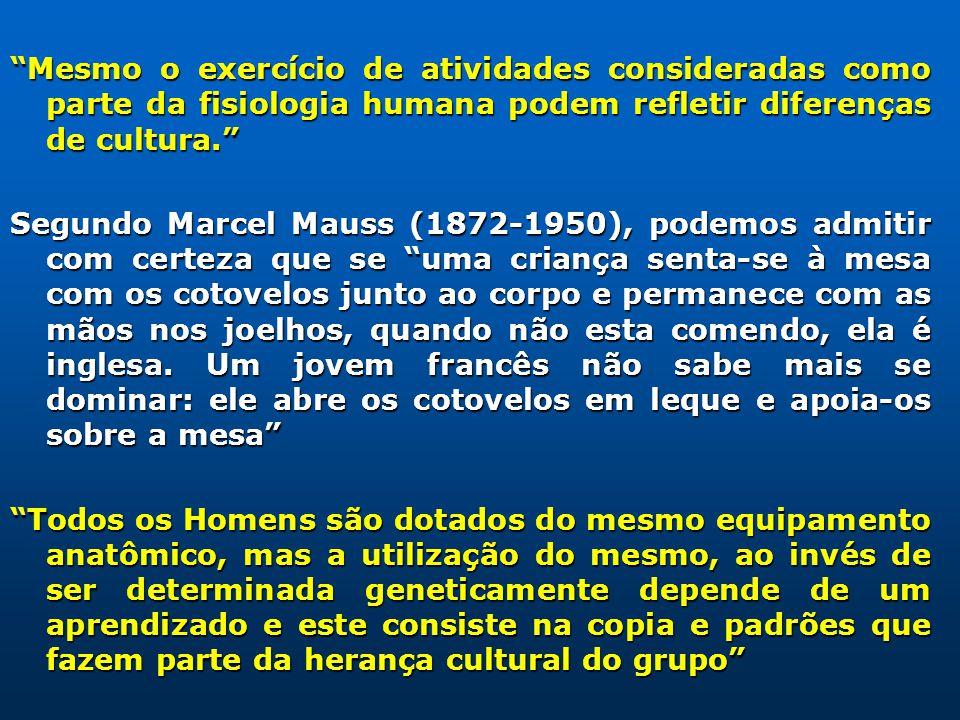 Mesmo o exercício de atividades consideradas como parte da fisiologia humana podem refletir diferenças de cultura. Segundo Marcel Mauss (1872-1950), p
