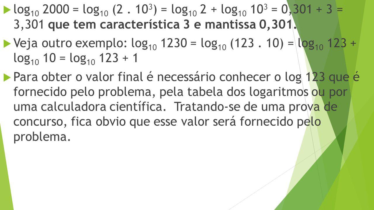log 10 2000 = log 10 (2. 10 3 ) = log 10 2 + log 10 10 3 = 0,301 + 3 = 3,301 que tem característica 3 e mantissa 0,301. Veja outro exemplo: log 10 123