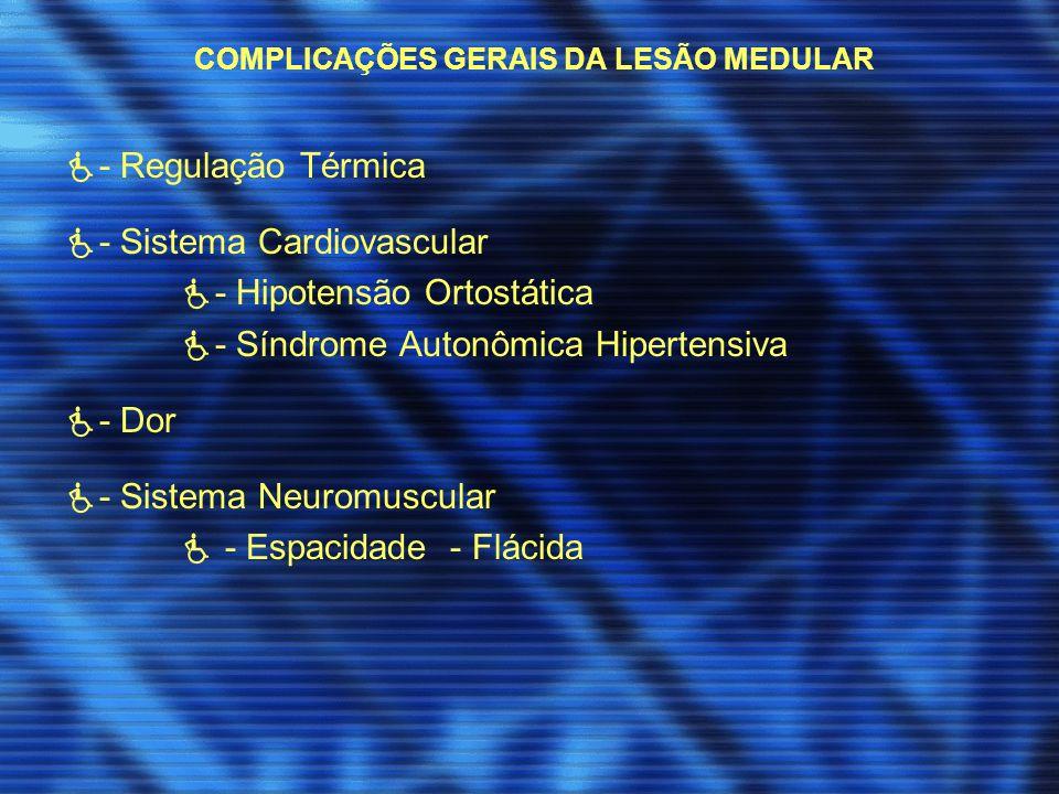 COMPLICAÇÕES GERAIS DA LESÃO MEDULAR - Regulação Térmica - Sistema Cardiovascular - Hipotensão Ortostática - Síndrome Autonômica Hipertensiva - Dor -