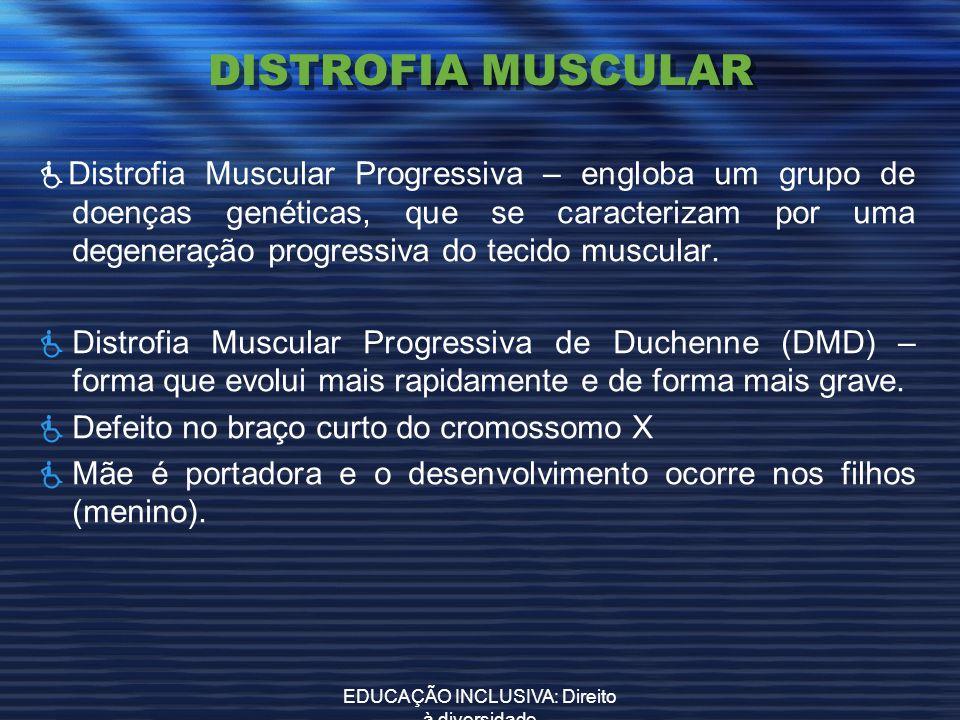 EDUCAÇÃO INCLUSIVA: Direito à diversidade DISTROFIA MUSCULAR Distrofia Muscular Progressiva – engloba um grupo de doenças genéticas, que se caracteriz