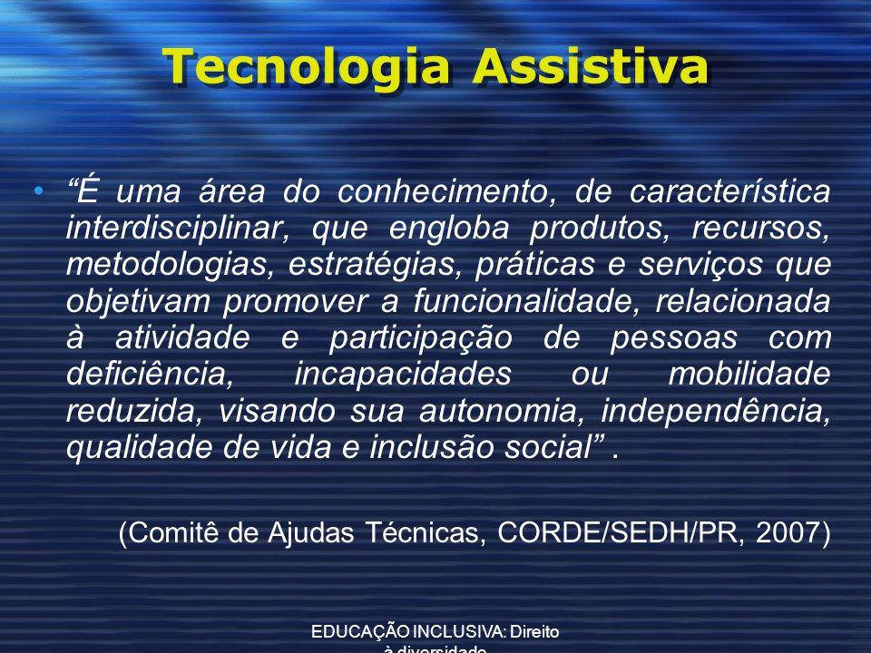 EDUCAÇÃO INCLUSIVA: Direito à diversidade Tecnologia Assistiva É uma área do conhecimento, de característica interdisciplinar, que engloba produtos, r