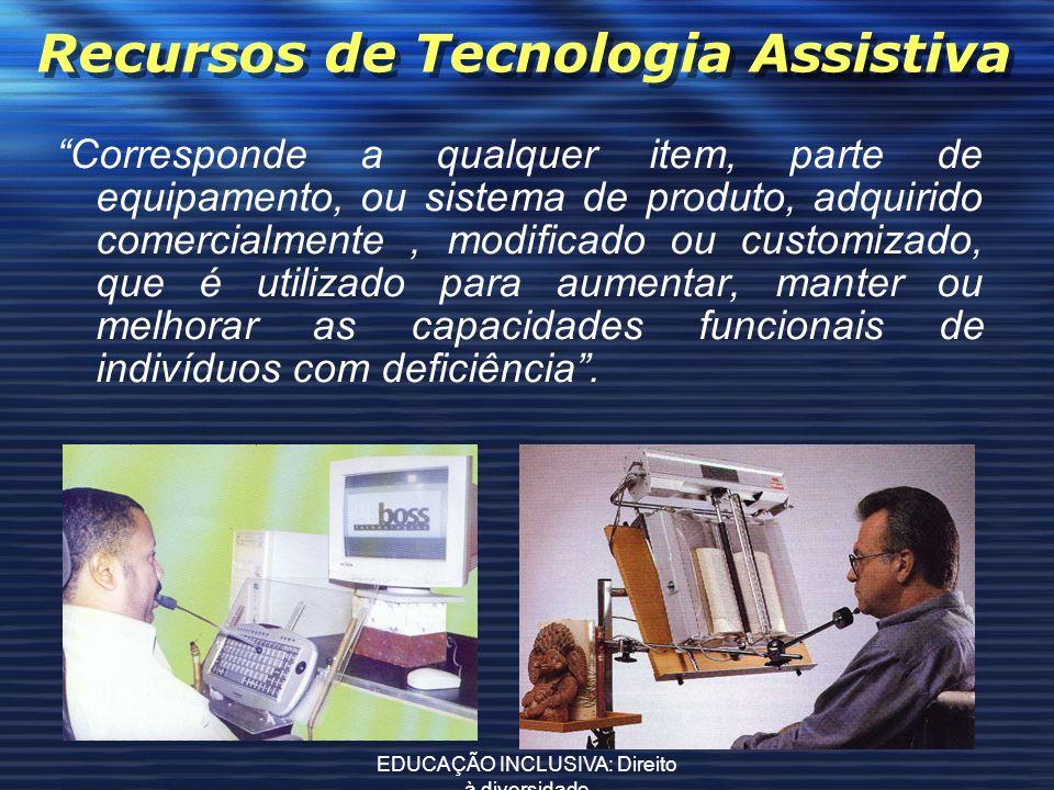 EDUCAÇÃO INCLUSIVA: Direito à diversidade Recursos de Tecnologia Assistiva Corresponde a qualquer item, parte de equipamento, ou sistema de produto, a
