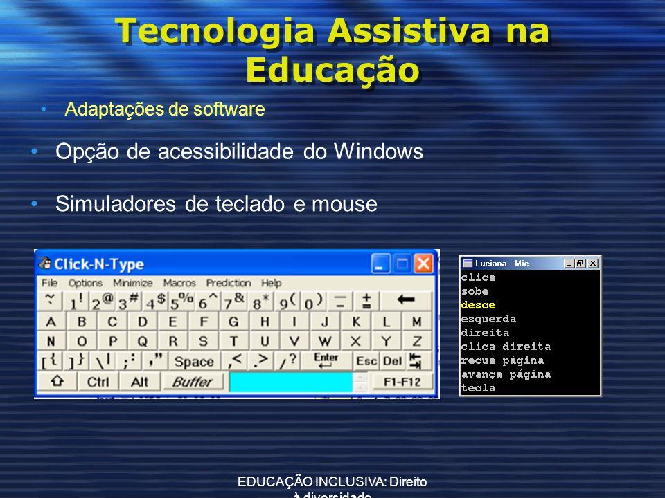 EDUCAÇÃO INCLUSIVA: Direito à diversidade Tecnologia Assistiva na Educação Adaptações de software Opção de acessibilidade do Windows Simuladores de te