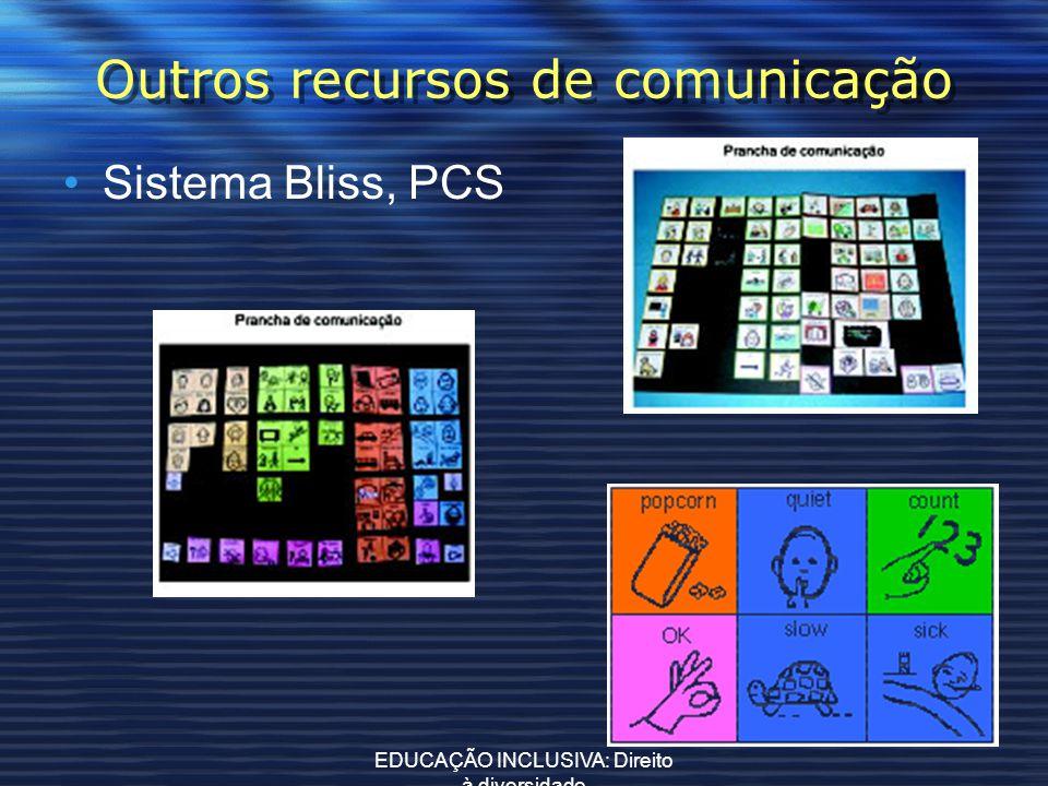 EDUCAÇÃO INCLUSIVA: Direito à diversidade Outros recursos de comunicação Sistema Bliss, PCS