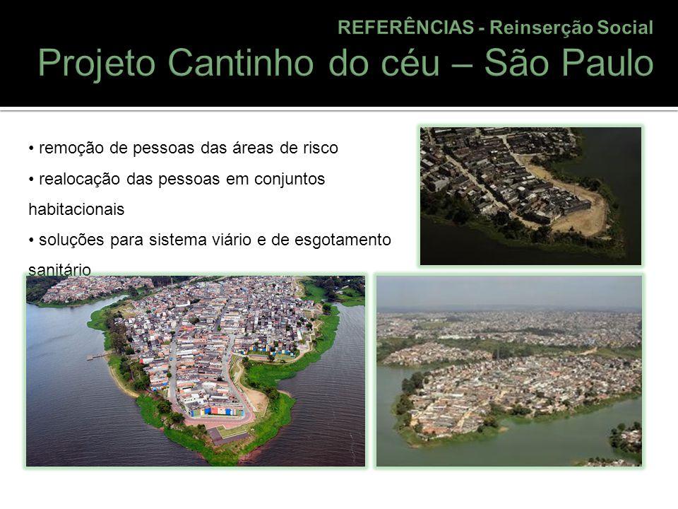 remoção de pessoas das áreas de risco realocação das pessoas em conjuntos habitacionais soluções para sistema viário e de esgotamento sanitário