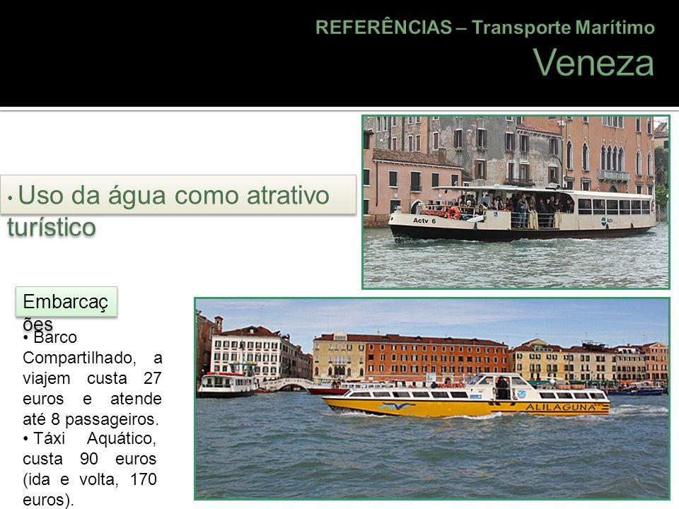 Barco Compartilhado, a viajem custa 27 euros e atende até 8 passageiros. Táxi Aquático, custa 90 euros (ida e volta, 170 euros). Uso da água como atra