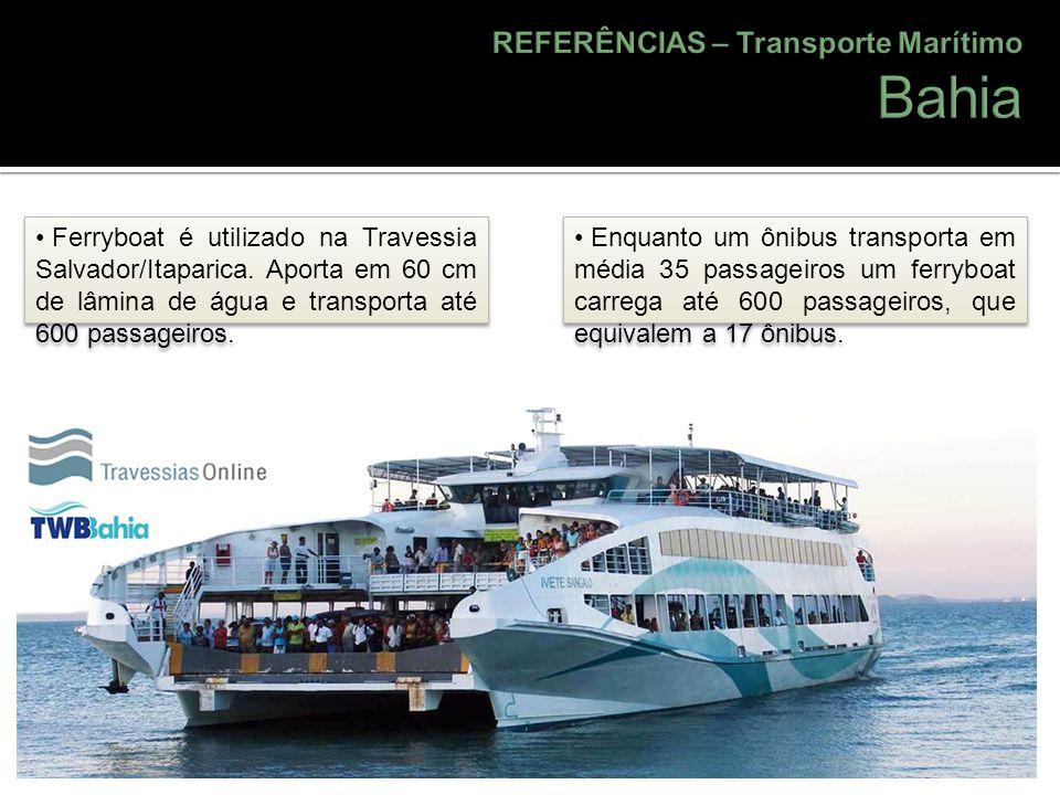 Ferryboat é utilizado na Travessia Salvador/Itaparica. Aporta em 60 cm de lâmina de água e transporta até 600 passageiros. Enquanto um ônibus transpor