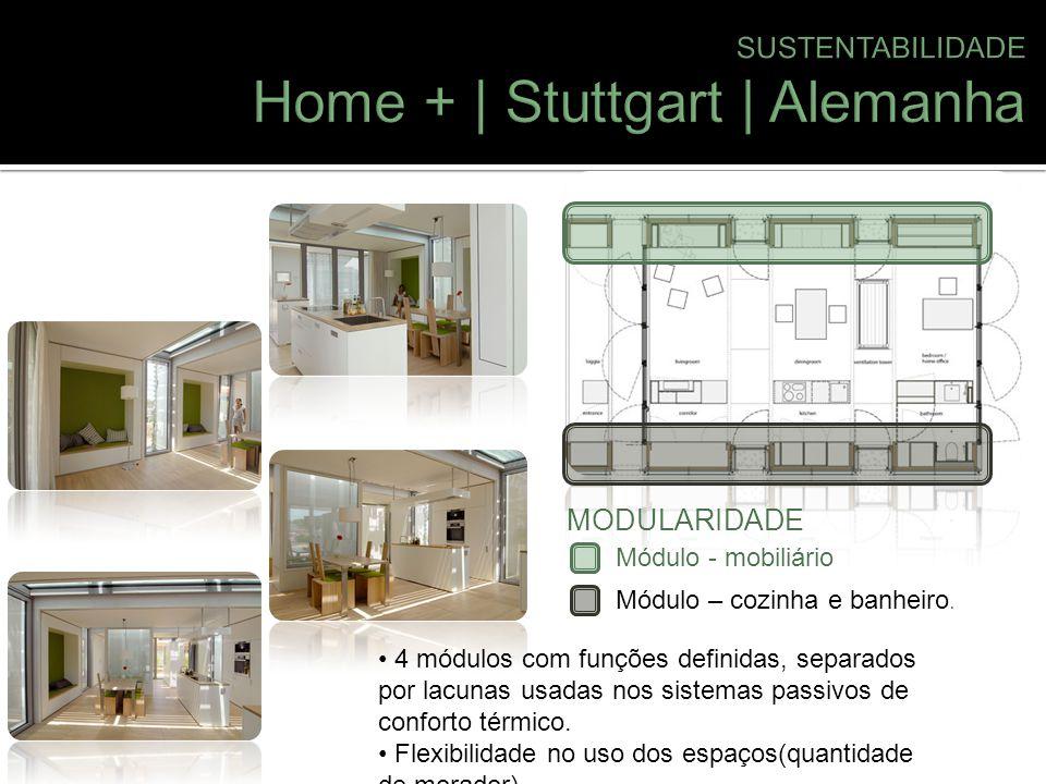 Módulo - mobiliário Módulo – cozinha e banheiro. MODULARIDADE 4 módulos com funções definidas, separados por lacunas usadas nos sistemas passivos de c