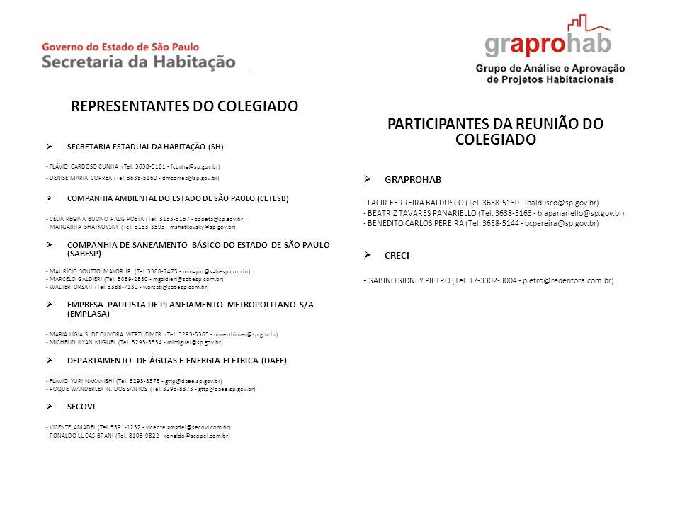 REPRESENTANTES DO COLEGIADO SECRETARIA ESTADUAL DA HABITAÇÃO (SH) - FLÁVIO CARDOSO CUNHA (Tel. 3638-5161 - fcunha@sp.gov.br) - DENISE MARIA CORREA (Te