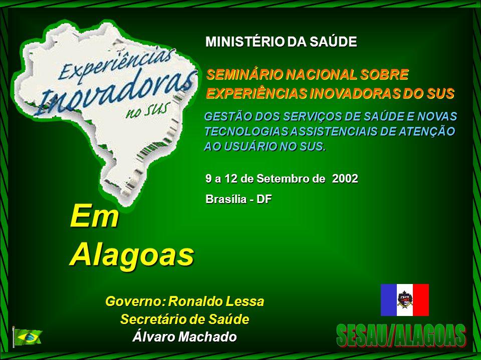 MINISTÉRIO DA SAÚDE SEMINÁRIO NACIONAL SOBRE EXPERIÊNCIAS INOVADORAS DO SUS SEMINÁRIO NACIONAL SOBRE EXPERIÊNCIAS INOVADORAS DO SUS GESTÃO DOS SERVIÇOS DE SAÚDE E NOVAS TECNOLOGIAS ASSISTENCIAIS DE ATENÇÃO AO USUÁRIO NO SUS.