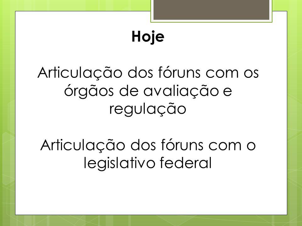 Hoje Articulação dos fóruns com os órgãos de avaliação e regulação Articulação dos fóruns com o legislativo federal