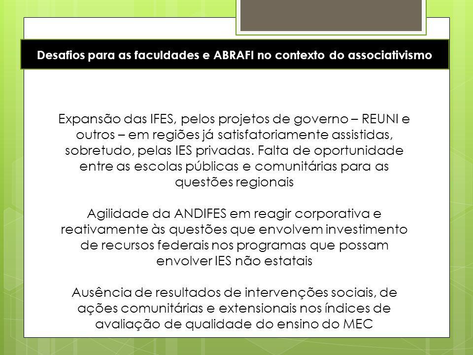 Expansão das IFES, pelos projetos de governo – REUNI e outros – em regiões já satisfatoriamente assistidas, sobretudo, pelas IES privadas. Falta de op