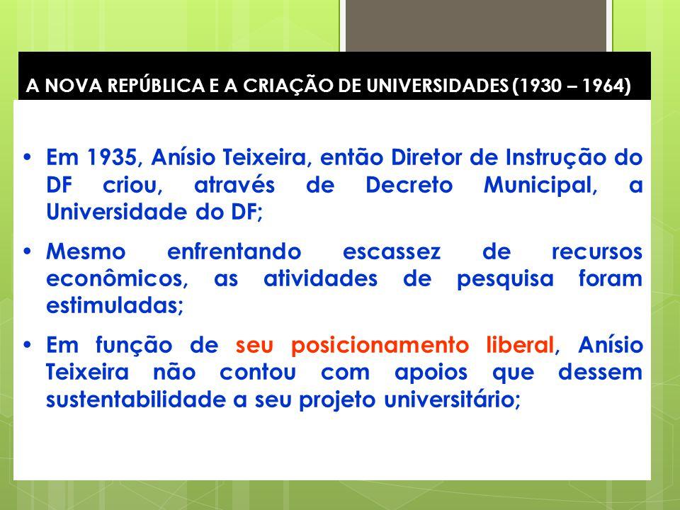 15 A NOVA REPÚBLICA E A CRIAÇÃO DE UNIVERSIDADES (1930 – 1964) Em 1935, Anísio Teixeira, então Diretor de Instrução do DF criou, através de Decreto Mu