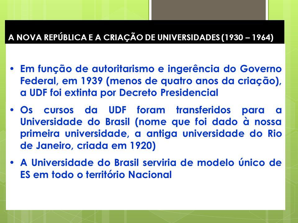 16 A NOVA REPÚBLICA E A CRIAÇÃO DE UNIVERSIDADES (1930 – 1964) Em função de autoritarismo e ingerência do Governo Federal, em 1939 (menos de quatro an
