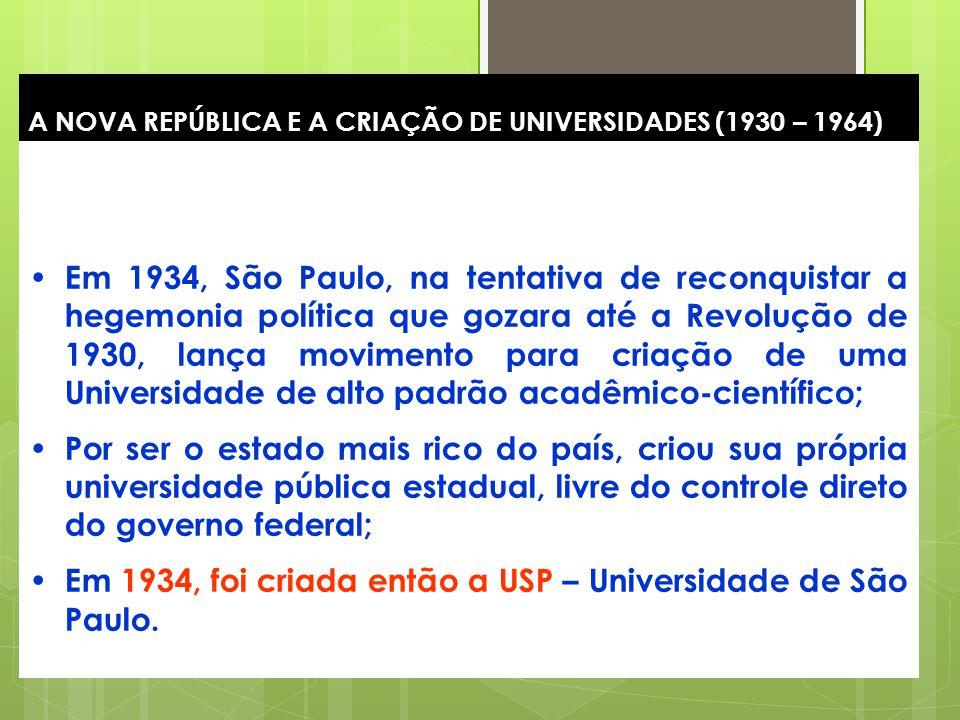17 A NOVA REPÚBLICA E A CRIAÇÃO DE UNIVERSIDADES (1930 – 1964) Em 1934, São Paulo, na tentativa de reconquistar a hegemonia política que gozara até a