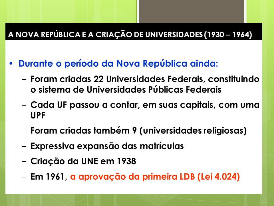 20 A NOVA REPÚBLICA E A CRIAÇÃO DE UNIVERSIDADES (1930 – 1964) Durante o período da Nova República ainda: – Foram criadas 22 Universidades Federais, c