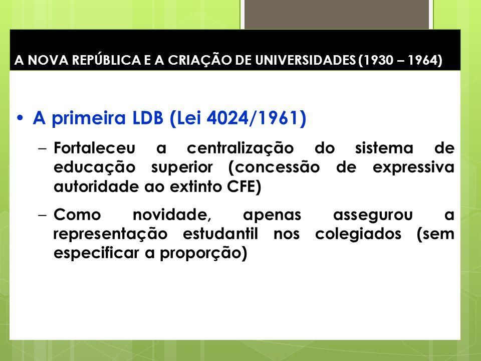 22 A NOVA REPÚBLICA E A CRIAÇÃO DE UNIVERSIDADES (1930 – 1964) A primeira LDB (Lei 4024/1961) – Fortaleceu a centralização do sistema de educação supe