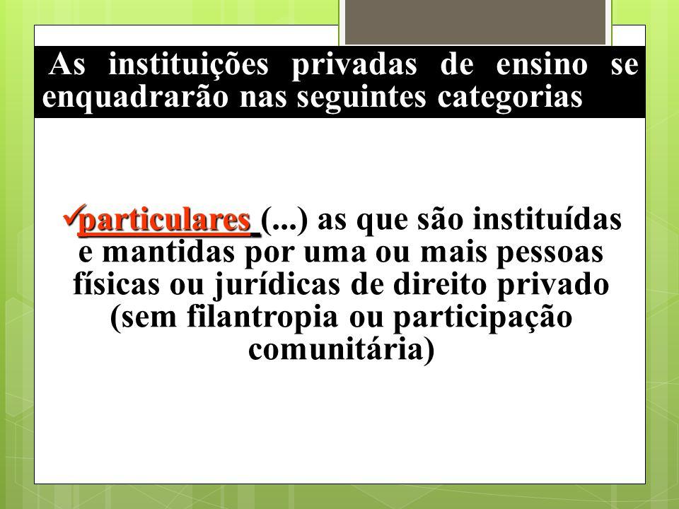 As instituições privadas de ensino se enquadrarão nas seguintes categorias particulares particulares (...) as que são instituídas e mantidas por uma o