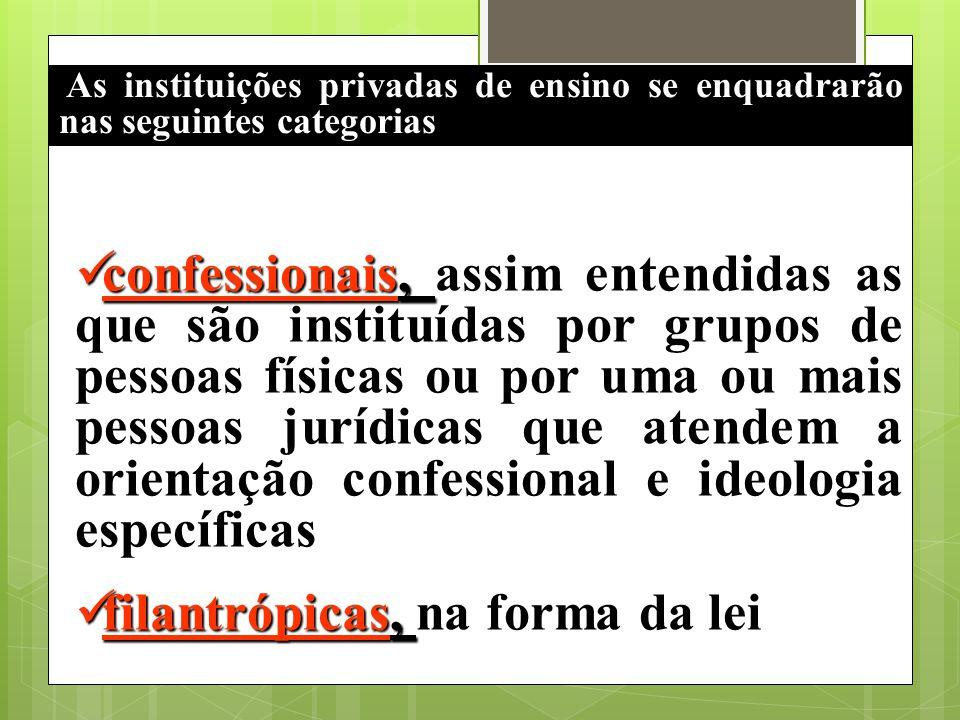 As instituições privadas de ensino se enquadrarão nas seguintes categorias confessionais, confessionais, assim entendidas as que são instituídas por g