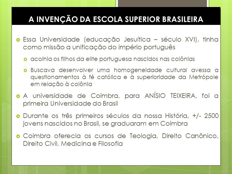 4 A INVENÇÃO DA ESCOLA SUPERIOR BRASILEIRA Essa Universidade (educação Jesuítica – século XVI), tinha como missão a unificação do império português ac