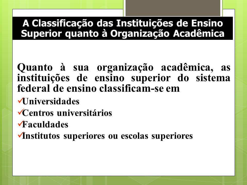 A Classificação das Instituições de Ensino Superior quanto à Organização Acadêmica Quanto à sua organização acadêmica, as instituições de ensino super