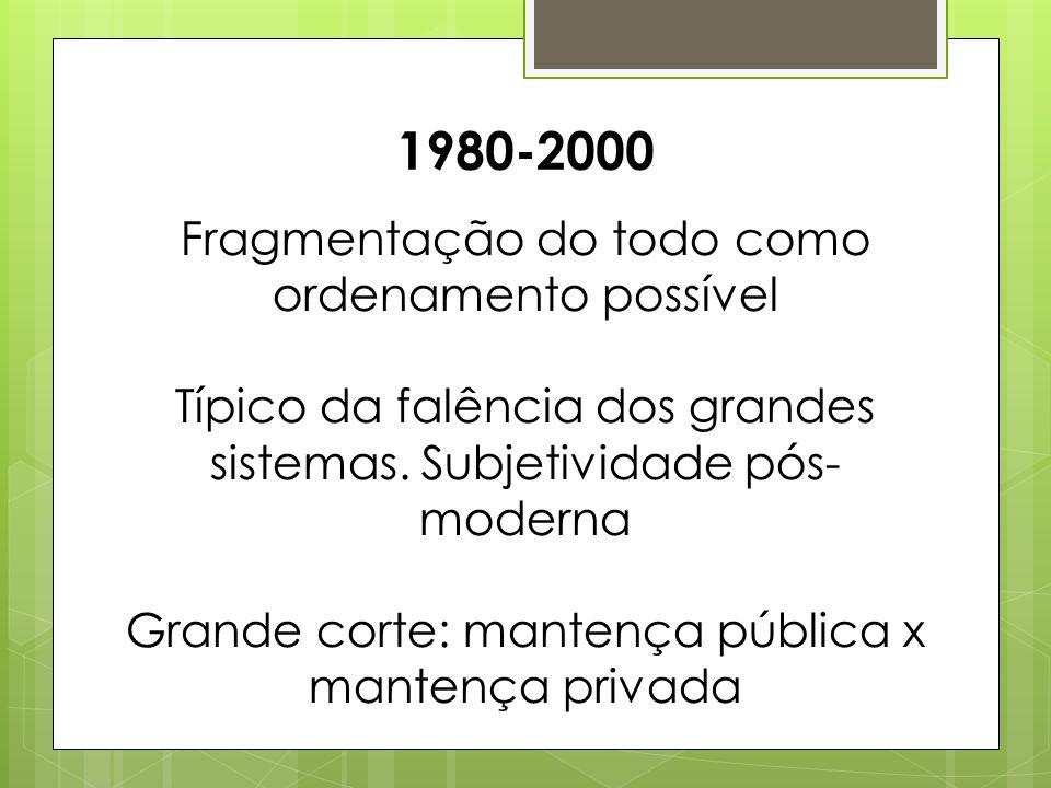 1980-2000 Fragmentação do todo como ordenamento possível Típico da falência dos grandes sistemas. Subjetividade pós- moderna Grande corte: mantença pú