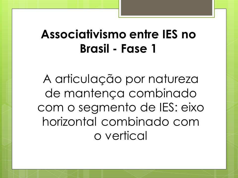 Associativismo entre IES no Brasil - Fase 1 A articulação por natureza de mantença combinado com o segmento de IES: eixo horizontal combinado com o ve