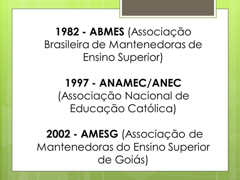 1982 - ABMES (Associação Brasileira de Mantenedoras de Ensino Superior) 1997 - ANAMEC/ANEC (Associação Nacional de Educação Católica) 2002 - AMESG (As