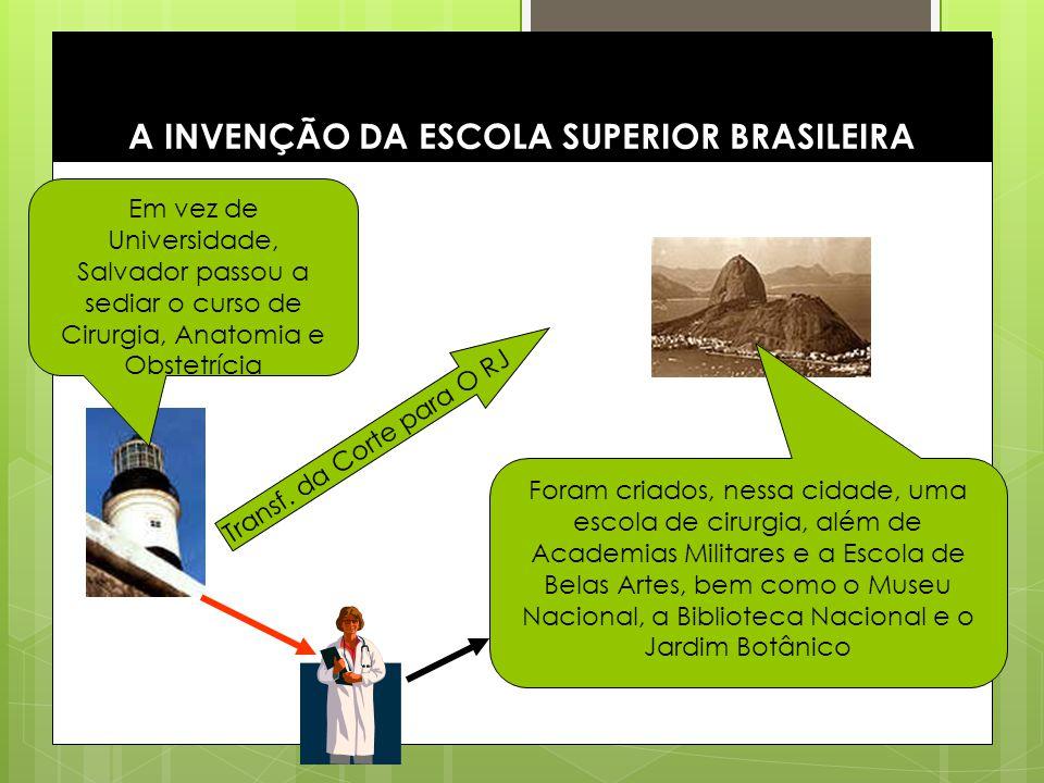 7 Durante o período de regência: Em 1827 foram criados dois cursos de direito (um em Olinda e outro em São Paulo) Em 1832 foi criada a escola de Minas, na cidade e Ouro Preto (foi instalada efetivamente somente 34 anos mais tarde) A INVENÇÃO DA ESCOLA SUPERIOR BRASILEIRA