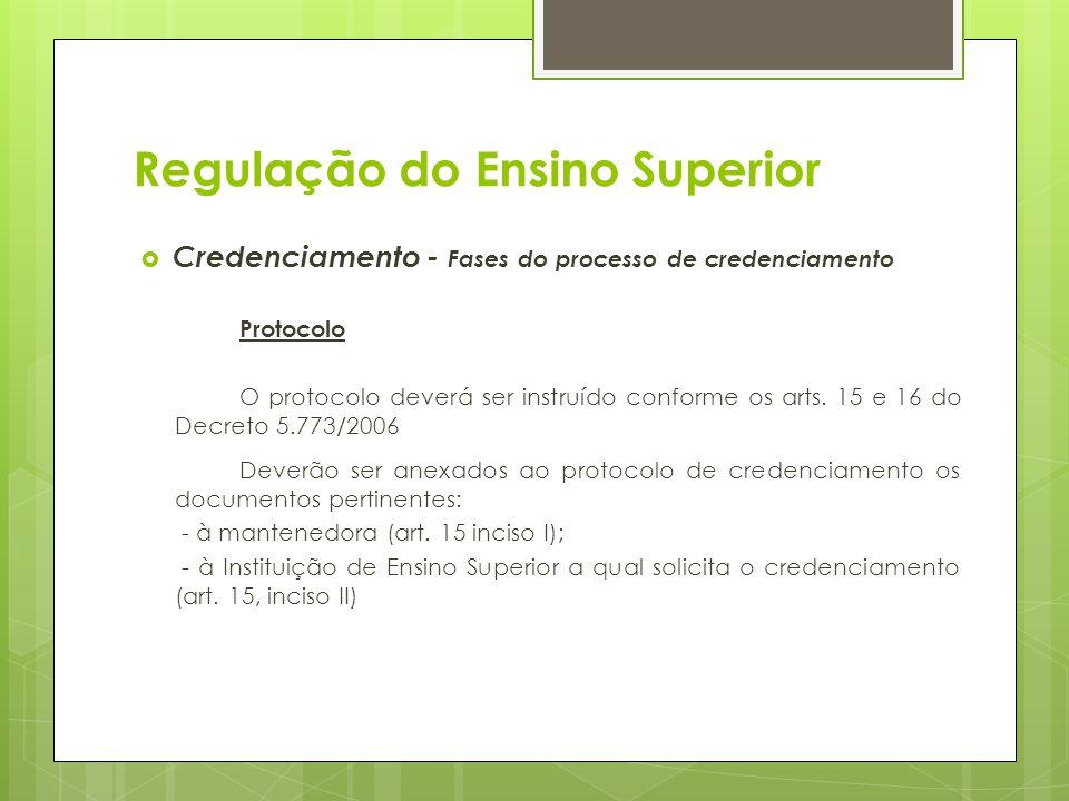 Regulação do Ensino Superior Credenciamento - Fases do processo de credenciamento Protocolo O protocolo deverá ser instruído conforme os arts. 15 e 16