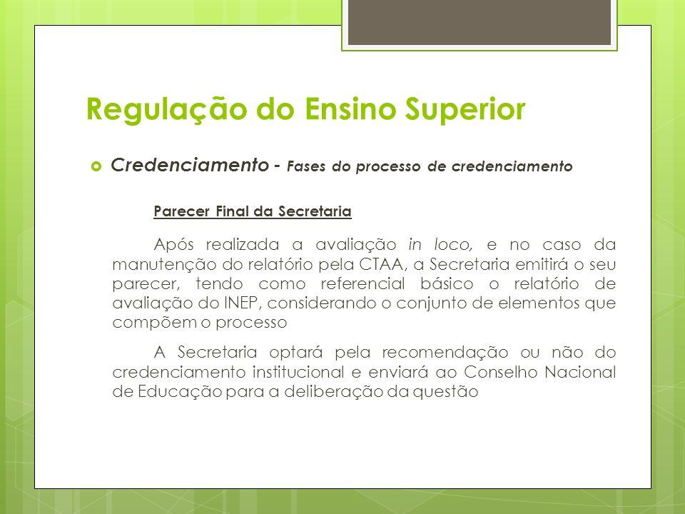 Credenciamento - Fases do processo de credenciamento Parecer Final da Secretaria Após realizada a avaliação in loco, e no caso da manutenção do relató