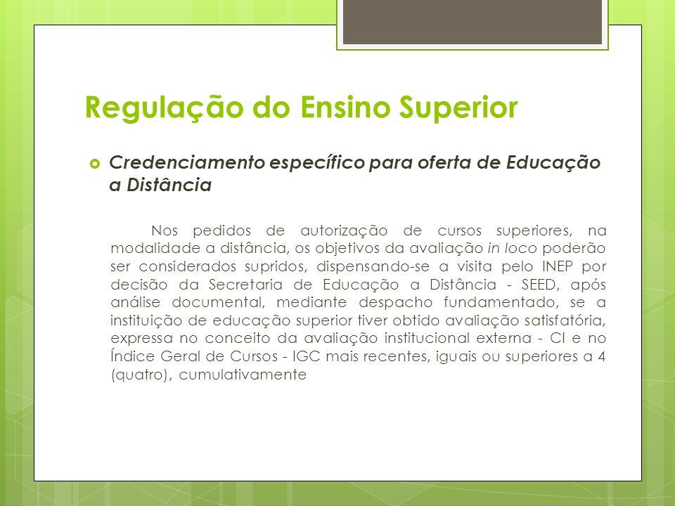 Regulação do Ensino Superior Credenciamento específico para oferta de Educação a Distância Nos pedidos de autorização de cursos superiores, na modalid