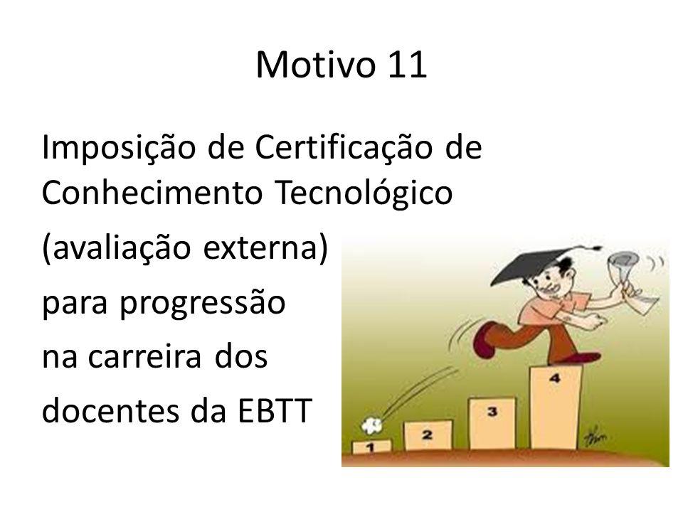 Motivo 11 Imposição de Certificação de Conhecimento Tecnológico (avaliação externa) para progressão na carreira dos docentes da EBTT