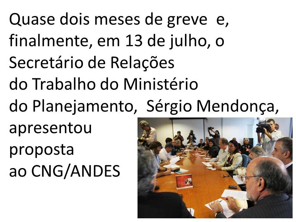 Quase dois meses de greve e, finalmente, em 13 de julho, o Secretário de Relações do Trabalho do Ministério do Planejamento, Sérgio Mendonça, apresent