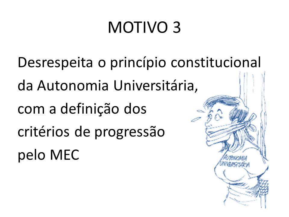 MOTIVO 3 Desrespeita o princípio constitucional da Autonomia Universitária, com a definição dos critérios de progressão pelo MEC