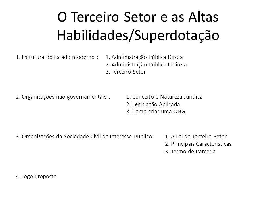 O Terceiro Setor e as Altas Habilidades/Superdotação 1. Estrutura do Estado moderno : 1. Administração Pública Direta 2. Administração Pública Indiret
