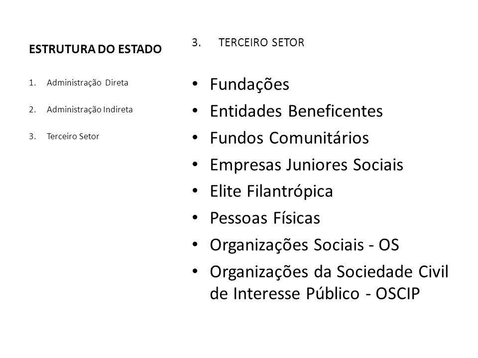 3.TERCEIRO SETOR Fundações Entidades Beneficentes Fundos Comunitários Empresas Juniores Sociais Elite Filantrópica Pessoas Físicas Organizações Sociai