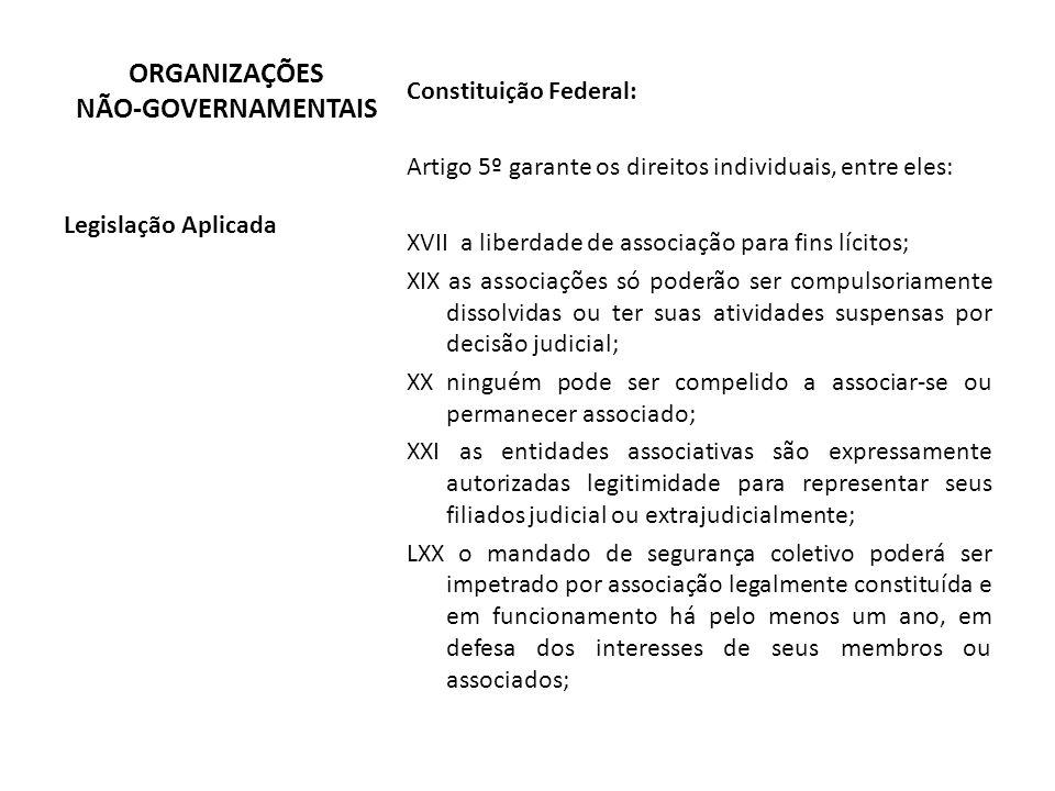 Constituição Federal: Artigo 5º garante os direitos individuais, entre eles: XVII a liberdade de associação para fins lícitos; XIX as associações só p